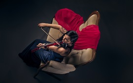 Preview wallpaper Girl play violin, sofa, top view