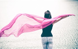 Preview wallpaper Girl, purple silk scarf, sea, back view