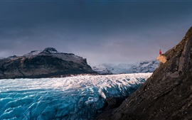 Glacier, Iceland, mountains, snow, girl