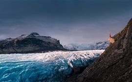 Preview wallpaper Glacier, Iceland, mountains, snow, girl