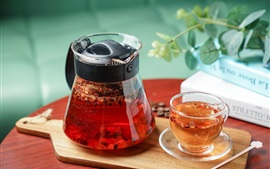 Glass cup, teapot, tea