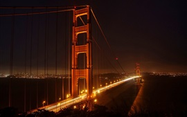 Golden Gate Bridge, San Francisco, night, lights, city, USA