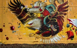 Preview wallpaper Graffiti, wall, eagle, wolf knight