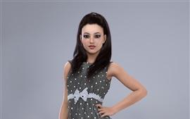Серый юбка девушка, черные волосы