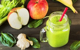 Preview wallpaper Green smoothies, ginger, apples, banana, drinks