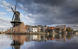 Haarlem, Netherlands, windmill, houses, city, river