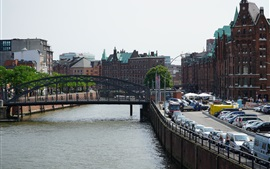 Hamburg, Germany, bridge, river, city