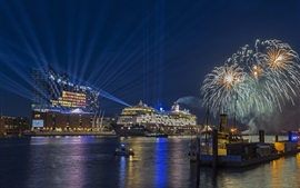 Hamburg, Germany, city night, ships, sea, fireworks