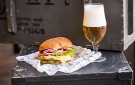 壁紙のプレビュー ハンバーガー、ビール、食品