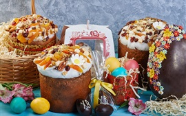 Happy Easter, cakes, eggs, chocolate, food