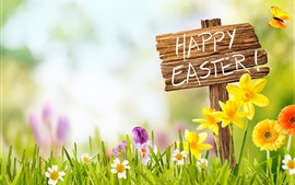 Preview wallpaper Happy Easter, sign board, grass, flowers, butterfly