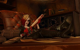 Harley Quinn, bate de béisbol, comics, juego, imagen de arte
