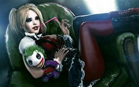 Preview wallpaper Harley Quinn, joker, gum, toy, art painting