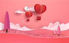 Preview wallpaper Hot air balloon, clouds, trees, hills, birds, red background, art creative