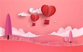 Globo aerostático, nubes, árboles, colinas, pájaros, fondo rojo, arte creativo