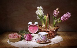 Preview wallpaper Hyacinths, cup, clock, sugar, rose, still life