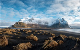 Iceland, Island, grass, mountains, snow, clouds, sea