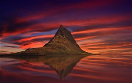 Iceland, Kirkjufell, mountain, sea, red sky, clouds