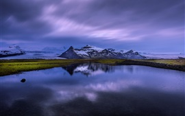 Islândia, lago, reflexão água, montanhas, neve, anoitecer