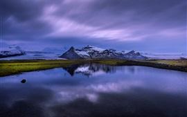 Islandia, lago, reflejo del agua, montañas, nieve, anochecer