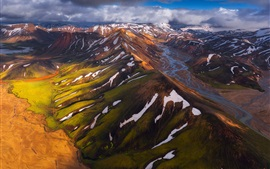 Iceland, mountains, snow, top view
