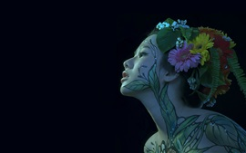 Preview wallpaper Japanese girl, body painting, face, black background