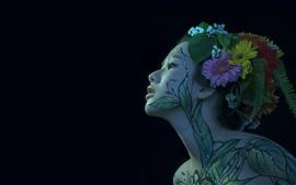 Aperçu fond d'écran Fille japonaise, body painting, visage, fond noir