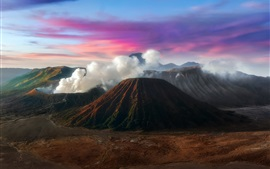 Preview wallpaper Java, Indonesia, mountains, volcano, smoke