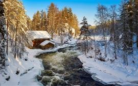 Preview wallpaper Kuusamo, Finland, winter, snow, hut, river, trees