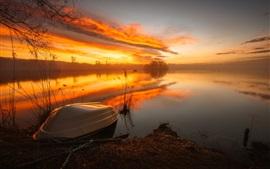 Озеро, лодка, река, восход солнца, туман, утро