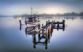Preview wallpaper Lake, boats, pier