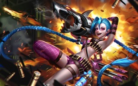 League of Legends, chica de pelo azul, bazooka