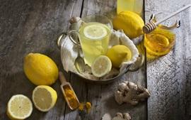 미리보기 배경 화면 레몬 차, 꿀, 과일, 음료