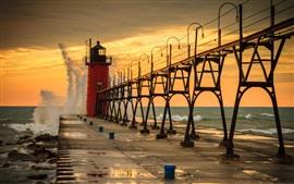 Lighthouse, sea, waves, water splash