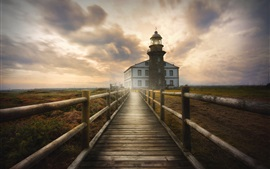 Lighthouse, wooden path, fog, morning