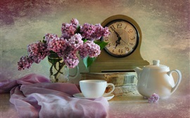 Lilac, pink flowers, clock, cup, kettle