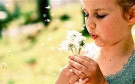 Маленькая девочка играет одуванчики