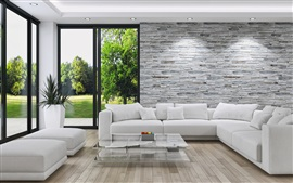 Preview wallpaper Living room, sofa, windows, white style