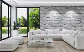 Sala de estar, sofá, janelas, estilo branco