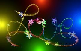 Love, abstract ribbon, colorful, stars