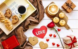 Любовь сердце, кофе, печенье, хлеб, подарки
