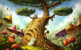 Preview wallpaper Magic tree, owl, mushroom, sheep, art painting
