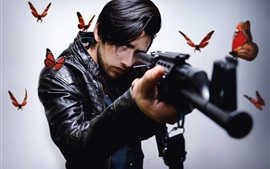 Preview wallpaper Man, gun, butterfly