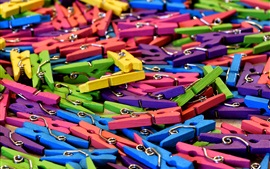 Preview wallpaper Many colorful clothespins