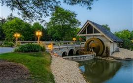 Mill, bridge, lights, trees, river, dusk