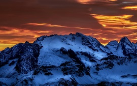 Mountains, snow, clouds, dusk, winter