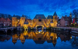 Preview wallpaper Netherlands, Amersfoort, river, bridge, houses, night, lights