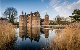 Países baixos, castelo, rio, reflexão água, canas