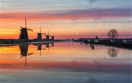 Preview wallpaper Netherlands, windmills, river, water, morning, fog