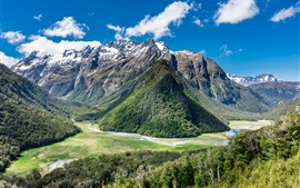 Preview wallpaper New Zealand, Humboldt Mountains, mountains, river